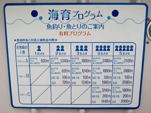 八景島シーパラダイス「うみファーム」の魚釣り・魚とり料金表