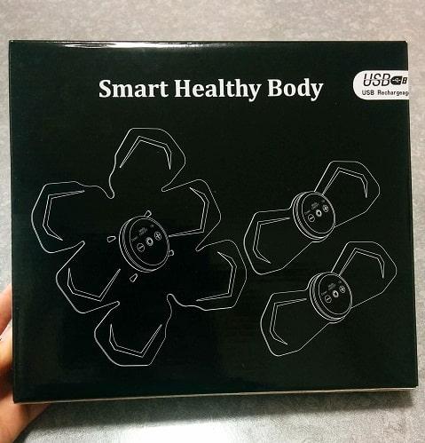 シックスパッドの類似品、格安EMSパッドの外箱。「スマートヘルシーボディ」と書いてある。
