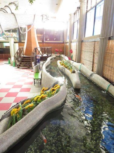 蓼科アミューズメント水族館内のコイ池と風車
