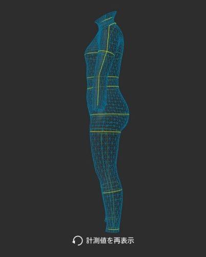 ZOZOスーツで計測した全身の3Dイメージ