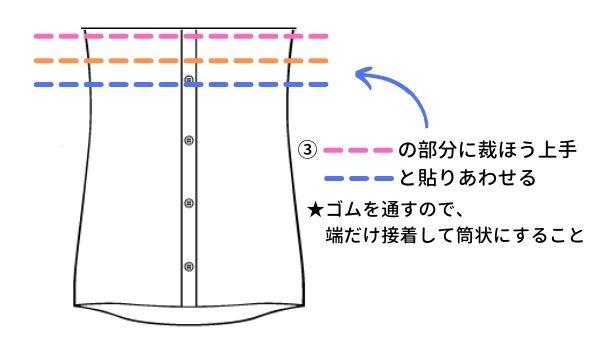ワイシャツからリメイクワンピースの作り方(ワンピース本体2)