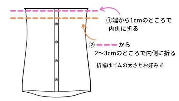 ワイシャツからリメイクワンピースの作り方(ワンピース本体1)