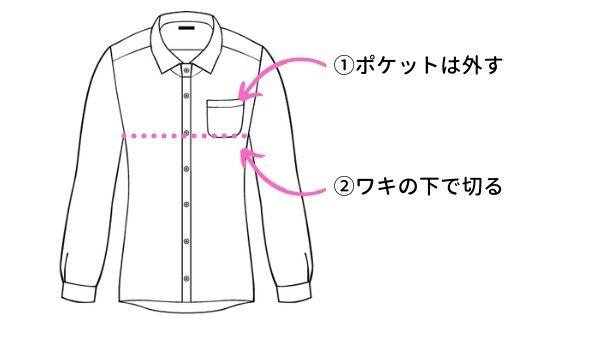 ワイシャツからリメイクワンピースの作り方(裁断1)